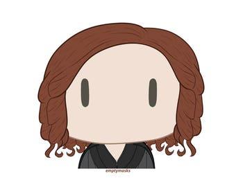 Natasha Romanoff / Black Widow - Chibi Head Sticker