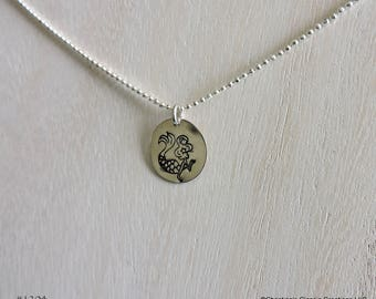 Sterling Silver Mermaid - blowing a kiss- Hand Stamped Necklace (#1204)