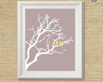 Printable wall art decor print, Birds in a Tree print, digital image, INSTANT DOWNLOAD