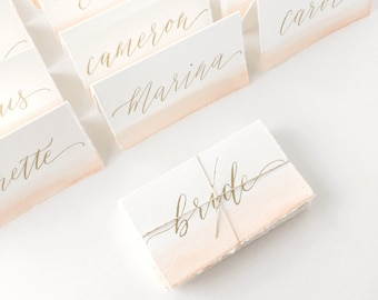 Wedding Place Cards - watercolor place cards, calligraphy place cards, hand lettered place cards, stationery, modern calligraphy, watercolor