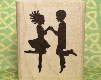 Irish Dancers 2-Hand Rubber Stamp Figure Team Silhouette #472