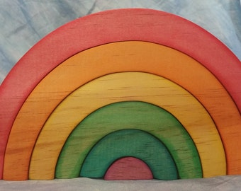 Beautiful Wooden Rainbow Stacker- waldorf steiner