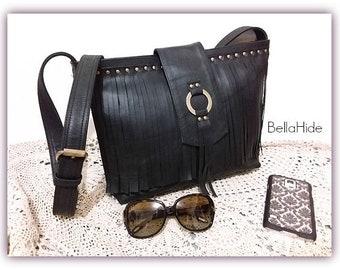 Leather fringe handbag, genuine leather bag, large black bag, bohemian bag, fringed shoulder bag, crossover bag, black cow leather, hobo bag