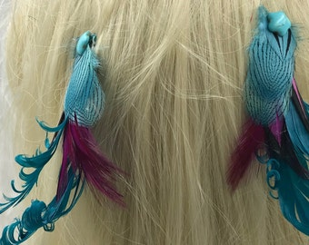 Pair of Tourquise Fushia Feather Hair Clips, Matching Feather Fascinators, Feather Accessorie, Blue and Fushia  Feather Barrettes,Boho Clips
