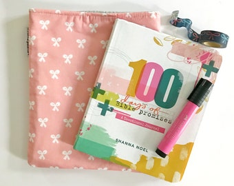 book + planner sleeve -- beauty school bows