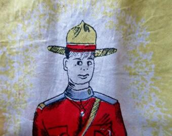 Vintage Scarf, Canada Souvenir Scarf, Canada Scarf, Silk Scarf, Made in Japan, Handprinted, Canadian Scarf, Canadian Souvenir, Mountie