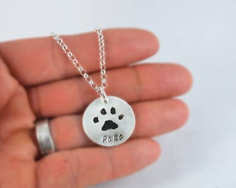 Cat Paw Print Necklace, Dog Paw Print Necklace, Pet Paw Print Jewelry, Pet Memorial Jewelry, Silver Paw Print Pendant made from a Picture