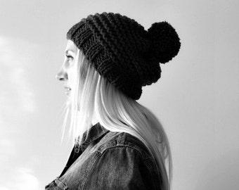 black pompom hat . pompom beanie . hand knit pompom beanie chunky slouchy hat. slouch pompom hat . knitted pompom beanie . black knit beanie