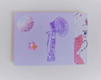Card japanese purple/pink all occasions