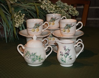 Vintage Noritake, Ireland/ Webb & Bower Ltd. 1977/ The Country Diary of an Edwardian Lady/ Edith Holden 1906/ Tea Set.