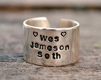 Three Name Personalized Stacked Name Ring.  Sterling Silver Cuff Ring.