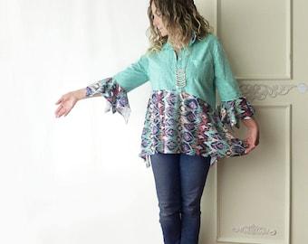 Aqua tunic top, Print on print, size large to XL, cotton, Boho, asymmetrical tunic, polka dot, geometric chevron print, artsy, one of a kind