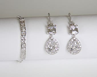 Asscher Cut Cubic Zirconia Pear Drop Earrings Bracelet Minimalist Cocktail Jewelry Best Bridal Jewelry Set
