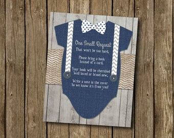 Baby Boy Shower Book Request Card Navy Gray Bow Tie Suspenders Chevron Polkadot Wood Rustic Printable Instant Download Digital File