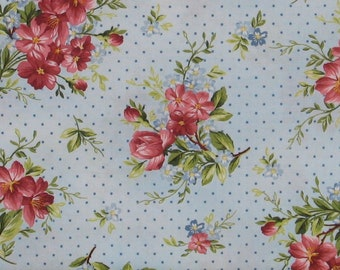 Sweet Pink and Red Flower Sprays with Blue Dots on Light Blue Cotton Quilt Fabric, Roses on the Vine by Marti Michell, Yardage, MAS8433-B