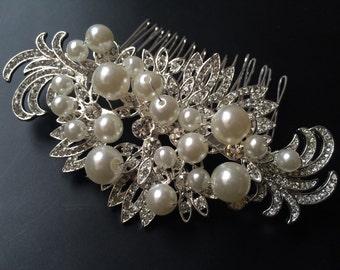Wedding hair comb, Bridal hair comb, Vintage comb, Silver vintage style hair accessory, wedding hair comb,bridal comb, bridesmaids comb