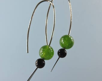 Niobium earrings: Marquise hypoallergenic earrings with 6mm British Columbia jade