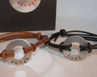 My word, custom stamped leather bracelet, aluminium washer bracelet, personalized adjustable bracelet, intention,  hand stamped jewelry