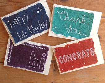 SALE!! Goodbye Glue! Handstitched Red/Blue/Green/Purple Greeting Cards-- 3 Pack