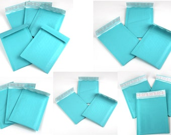 20 6x10 & 4x8 Combo Aqua Kraft Self Seal Bubble Envelopes Size DVD Bubble Mailers Padded Colored shipping Rigid Mailing Protective Mailers