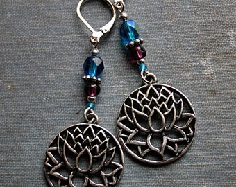 Purple Sky Lotus Earrings - Boho, Belly Dance, Fairy, Flower, Fashion, Plum, Turquoise, Glass Bead, Swarovski