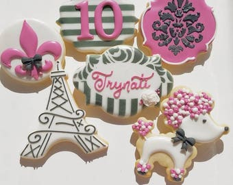 1 DOZEN Decorated Cookies - Custom Cookies Sweet 16 Parisian Eiffel Tower Poodle Damask Fleur de Lis Paris Birthday