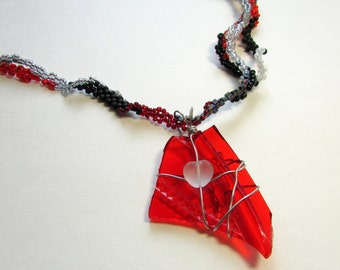 Freeform Peyote Necklace - Beaded Freeform Necklace - Red Taillight Pendant - Red Black Silver Necklace - Free Form Peyote