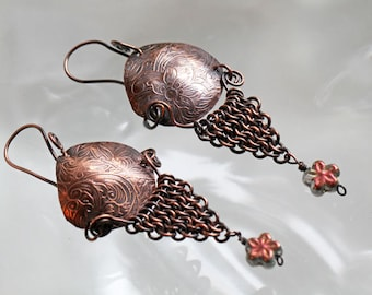 Embossed Copper and Chainmaille Earrings
