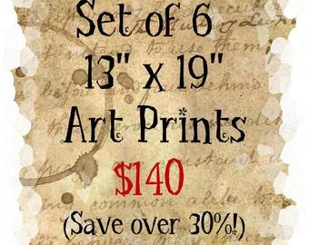 Wholesale Set of 6 Art Prints YOU PICK from +A3 Art Prints 13 x 19 Illustration Home Decor Bridesmaid Gift Horse, Woman, Mermaid, Cat Shano