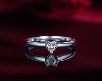 Heart Diamond Engagement Ring 14k White Gold or Yellow Gold or Rose Gold Diamond Ring Solitaire Proposal Ring Anniversary Ring