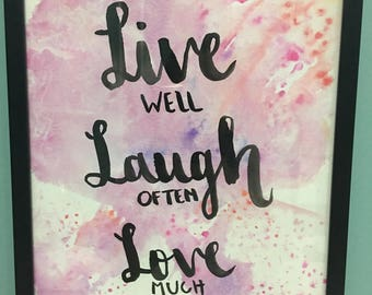 Live, laugh, love watercolor painting