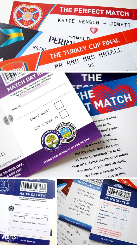 Fußball Ticket Hochzeits Einladungen