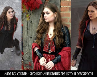 Wanda Maximoff/Scarlet Witch Cosplay Leather Zip Gloves/Wrist-Warmers Avengers Age of Ultron (Measurements Required In Description)