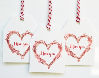 I Love You Watercolour Gift Tags