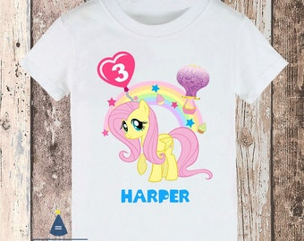 Personalized Little Pony Fluttershy Birthday Party T-shirt - with name and age