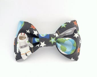 Gray Outer Space Astronaut Bow Tie Hair Clip