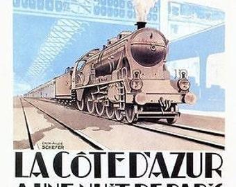 Vintage French Railways Paris to Cote D'Azur Poster A3/A2/A1 Print