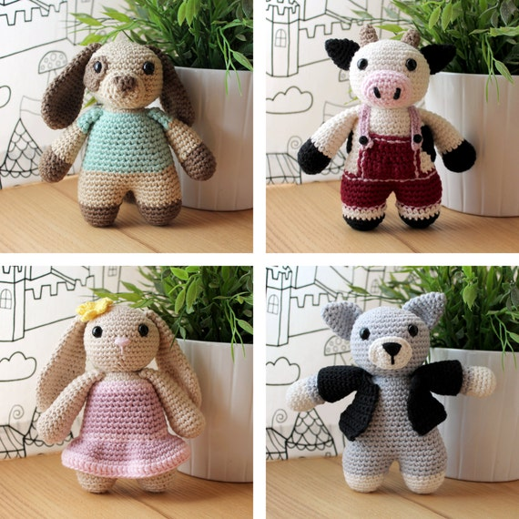 Animals: Dog, Cow, Rabbit & Cat. Amigurumi Pattern PDF.
