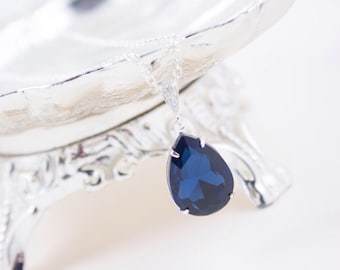 Wedding Jewelry, Bridesmaid Necklace, Dark Blue Crystal Teardrop Bridal Necklace