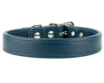 Soft Madeira Blue Leather Dog Collar