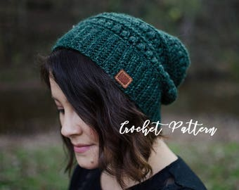 CROCHET PATTERN | Textured Slouchy Beanie | The Fiona | Crochet Hat