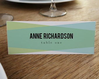 Printable Place Cards - Place Card Template - Instant Download - Blue and Green Place Cards - Place Card PDF - Geometric - Escort Card PDF