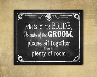 Wedding seating PRINTED chalkboard style sign - There's plenty of room - chalkboard signage -  with optional add ons