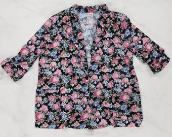 Vintage 80s USA Black Pink Purple Floral Flower Cardigan Blouse, Womens Size 20 WP Petite