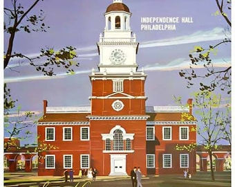 Pennsylvania Travel Poster - Vintage Independence Hall Philadelphia Travel Print Art - Home Decor