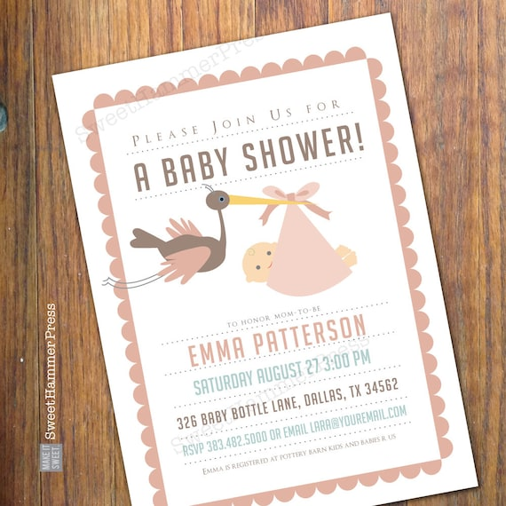 Pink And Brown Baby Shower Invitation With Stork Baby Shower