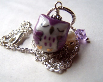Girls Necklace Owl Necklace Girls Jewelry Owls Charms Purple Sleeping