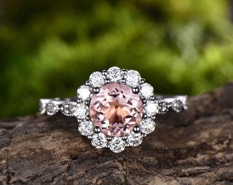 1 carat Morganite engagement ring white gold 14K/18K Moissanite halo wedding band Cluster Art Deco Flower