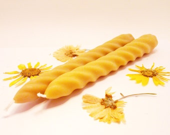 Beeswax Candles - 8 in Spiral Taper Candles 100% Beeswax Candles