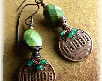 Boho Tribal Jewelry Copper Green Turquoise Onyx Rustic Artisan Beaded Earrings
